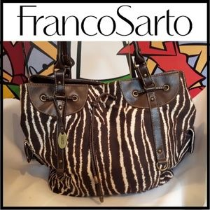 Franco Sarto Shoulder Bag Large Canvas & Leather